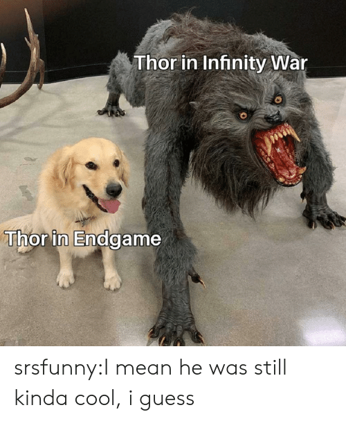 Infinity War: Thor in Infinity War  Thor in Endgame srsfunny:I mean he was still kinda cool, i guess