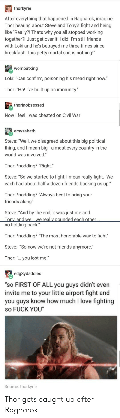 "honorable: thorkyrie  After everything that happened in Ragnarok, imagine  Thor hearing about Steve and Tony's fight and being  like ""Really?! Thats why you all stopped working  together?! Just get over it! I did! I'm still friends  with Loki and he's betrayed me three times since  breakfast! This petty mortal shit is nothing!""  wombatking  Loki: ""Can confirm, poisoning his mead right now.""  Thor: ""Ha! I've built up an immunity.""  thorinobsessed  Now I feel I was cheated on Civil War  emysabath  Steve: ""Well, we disagreed about this big political  thing, and I mean big - almost every country in the  world was involved.""  Thor: *nodding* ""Right.""  Steve: ""So we started to fight, I mean really fight. We  each had about half a dozen friends backing us up.""  Thor: *nodding* ""Always best to bring your  friends along""  Steve: ""And by the end, it was just me and  no holding back.""  Thor: *nodding ""The most honorable way to fight""  Steve: ""So now we're not friends anymore.""  Thor: "".. you lost me.""  edg3ydaddies  ""sO FIRST OF ALL you guys didn't even  invite me to your little airport fight and  you guys know how much I love fighting  so FUCK YOU  Source: thorkyrie Thor gets caught up after Ragnarok."