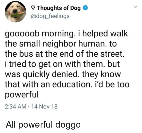An Education: Thoughts of Dog *  @dog_feelings  gooooob morning. i helped walk  the small neighbor human. to  the bus at the end of the street.  i tried to get on with them. but  as quickly denied. they know  that with an education. i'd be too  powerful  2:34 AM 14 Nov 18 All powerful doggo