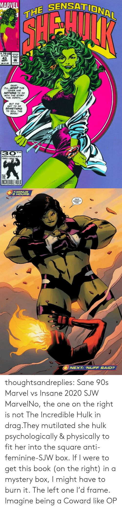 fit: thoughtsandreplies:  Sane 90s Marvel vs Insane 2020 SJW MarvelNo, the one on the right is not The Incredible Hulk in drag.They mutilated she hulk psychologically & physically to fit her into the square anti-feminine-SJW box. If I were to get this book (on the right) in a mystery box, I might have to burn it. The left one I'd frame.    Imagine being a Coward like OP