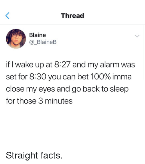 Anaconda, Dank, and Facts: Thread  Blaine  _BlaineB  if I wake up at 8:27 and my alarm was  set for 8:30 you can bet 100% imma  close my eyes and go back to sleep  for those 3 minutes Straight facts.