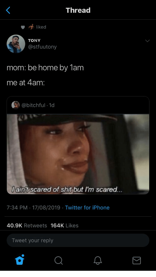 Iphone, Shit, and Twitter: Thread  liked  TONY  @stfuutony  mom: be home by 1am  me at 4am:  @bitchful 1d  Iaint scared of shit but I'm scared...  7:34 PM 17/08/2019 Twitter for iPhone  .  40.9K Retweets 164K Likes  Tweet your reply