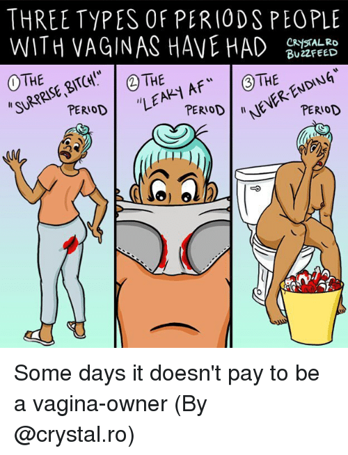 "Memes, Vagina, and 🤖: THREE TYPES OF PERIODS PEOPLE  WITH VAGINAS HAVE D BUTREED  BU22FEED  ""SURPRISE、BITCH!""  ""LEAK Some days it doesn't pay to be a vagina-owner (By @crystal.ro)"