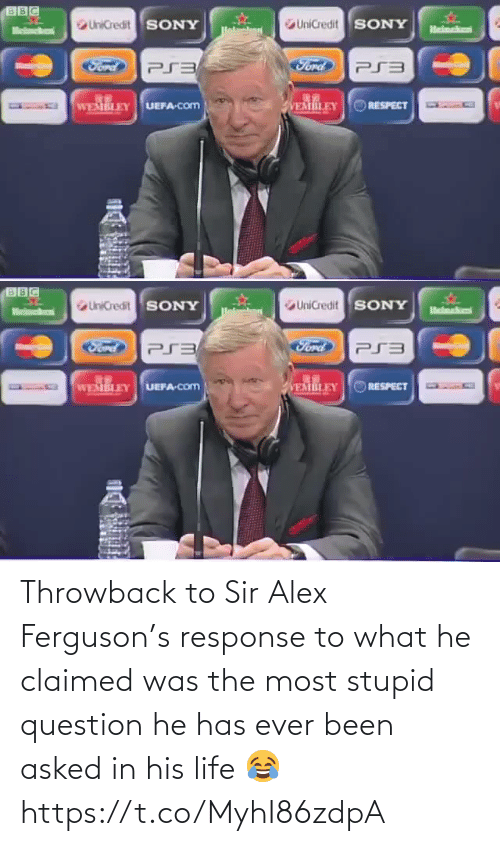 Ferguson: Throwback to Sir Alex Ferguson's response to what he claimed was the most stupid question he has ever been asked in his life 😂 https://t.co/MyhI86zdpA