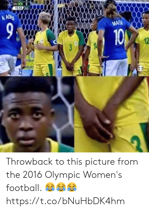 Football, Soccer, and Picture: Throwback to this picture from the 2016 Olympic Women's football. 😂😂😂 https://t.co/bNuHbDK4hm