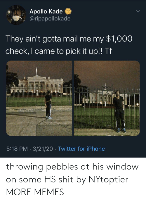throwing: throwing pebbles at his window on some HS shit by NYtoptier MORE MEMES
