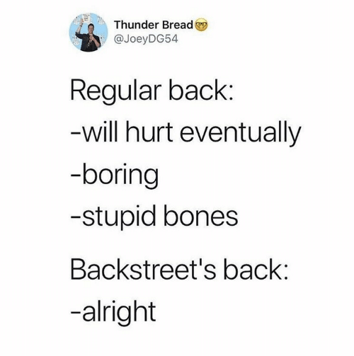 Bones: Thunder Bread  @JoeyDG54  Regular back:  -will hurt eventually  -boring  -stupid bones  Backstreet's back:  -alright