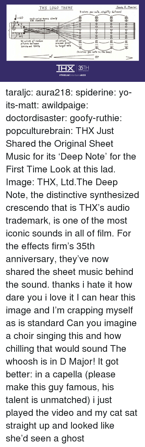 Gizmodo: THX LOG0 THEME  Janes A. Moorer  3 veices per , srghtly detoned  丑丑丑  60  cach volle moves slowl  30 votces et random  pitches between  all voTces  proceed dire  to taigeT noTe  ㄟㄧ一互  mf  THX 35TH  ANNIVERSARY  #THXLtd Entertain:At35 taraljc:  aura218:  spiderine:  yo-its-matt:  awildpaige:  doctordisaster:  goofy-ruthie:  popculturebrain:  THX Just Shared the Original Sheet Music for its 'Deep Note' for the First Time  Look at this lad. Image:  THX, Ltd.The Deep Note, the distinctive synthesized crescendo that is THX's audio trademark, is one of the most iconic sounds in all of film. For the effects firm's 35th anniversary, they've now shared the sheet music behind the sound.    thanks i hate it  how dare you i love it   I can hear this image and I'm crapping myself as is standard    Can you imagine a choir singing this and how chilling that would sound  The whoosh is in D Major!  It got better: in a capella (please make this guy famous, his talent is unmatched)  i just played the video and my cat sat straight up and looked like she'd seen a ghost