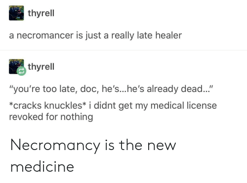 "knuckles: thyrell  a necromancer is just a really late healer  thyrell  ""you're too late, doc, he's...he's already dead...""  *cracks knuckles* i didnt get my medical license  revoked for nothing Necromancy is the new medicine"