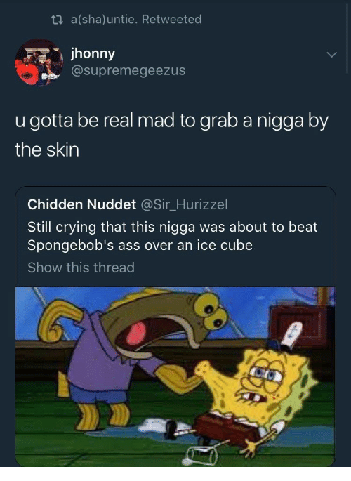 Ass, Crying, and Ice Cube: ti a(sha)untie. Retweeted  jhonny  @supremegeezus  u gotta be real mad to grab a nigga by  the skin  Chidden Nuddet @Sir_Hurizzel  Still crying that this nigga was about to beat  Spongebob's ass over an ice cube  Show this thread