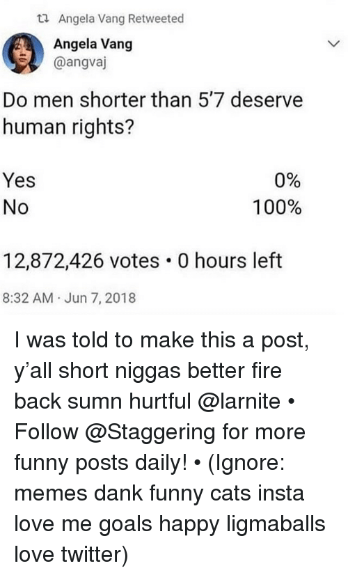 Anaconda, Cats, and Dank: ti Angela Vang Retweeted  Angela Vang  @angvaj  Do men shorter than 5'7 deserve  human rights?  Yes  No  0%  100%  12,872,426 votes 0 hours left  8:32 AM Jun 7, 2018 I was told to make this a post, y'all short niggas better fire back sumn hurtful @larnite • ➫➫➫ Follow @Staggering for more funny posts daily! • (Ignore: memes dank funny cats insta love me goals happy ligmaballs love twitter)