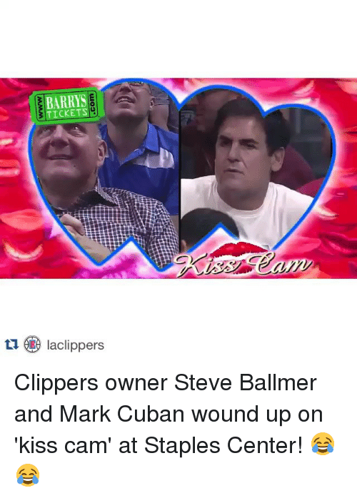 Steve Ballmer: TICKETS  tu Iaclippers Clippers owner Steve Ballmer and Mark Cuban wound up on 'kiss cam' at Staples Center! 😂😂