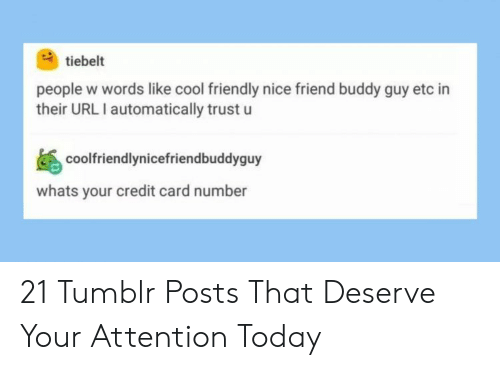 Tumblr, Cool, and Today: tiebelt  people w words like cool friendly nice friend buddy guy etc in  their URL I automatically trust u  coolfriendlynicefriendbuddyguy  whats your credit card number 21 Tumblr Posts That Deserve Your Attention Today