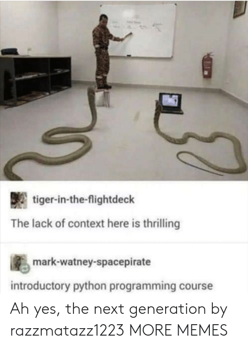 the next generation: tiger-in-the-flightdeck  The lack of context here is thrilling  s mark-watney-spacepirate  introductory python programming course Ah yes, the next generation by razzmatazz1223 MORE MEMES