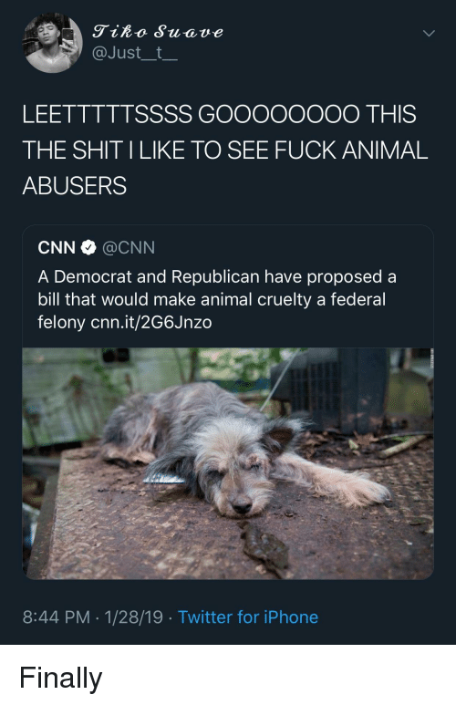 cnn.com, Iphone, and Twitter: Tiko Suave  @Just__t  LEETTTTTSSSS GOOooOOOO THIS  THE SHIT ILIKE TO SEE FUCK ANIMAL  ABUSERS  CNN·@CNN  A Democrat and Republican have proposed a  bill that would make animal cruelty a federal  felony cnn.it/2G6Jnzo  8:44 PM-1/28/19 Twitter for iPhone Finally