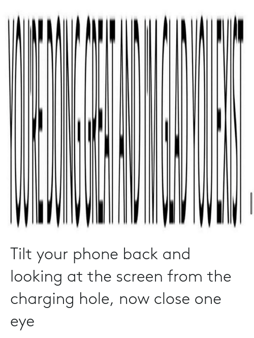 hole: Tilt your phone back and looking at the screen from the charging hole, now close one eye
