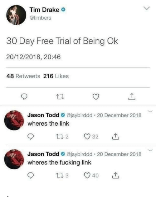 Wheres: Tim Drake O  @timbers  30 Day Free Trial of Being Ok  20/12/2018, 20:46  48 Retweets 216 Likes  @jaybirddd · 20 December 2018  Jason Todd  wheres the link  L7 2  32  Jason Todd O @jaybirddd 20 December 2018  wheres the fucking link  27 3  40  <> .
