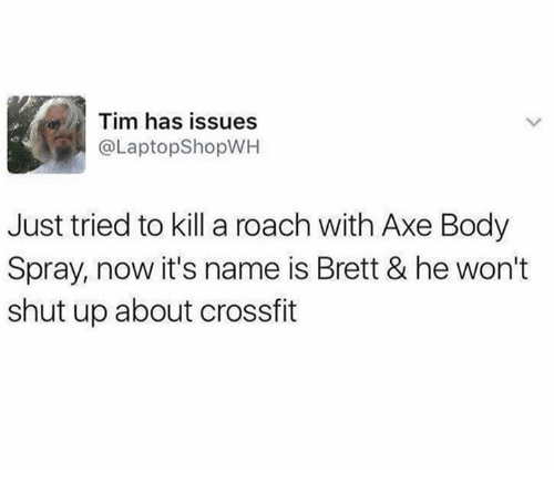 Dank, Shut Up, and Crossfit: Tim has issues  @LaptopShopWH  Just tried to kill a roach with Axe Body  Spray, now it's name is Brett & he won't  shut up about crossfit