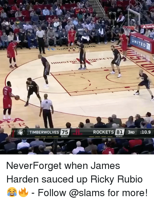 Sauced: TIMBERWOLVES  75  ROCKETS  81  3RD 10.9 NeverForget when James Harden sauced up Ricky Rubio 😂🔥 - Follow @slams for more!