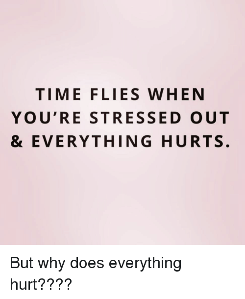 time flies: TIME FLIES WHEN  YOU'RE STRESSED OUT  & EVERYTHING HURTS. But why does everything hurt????