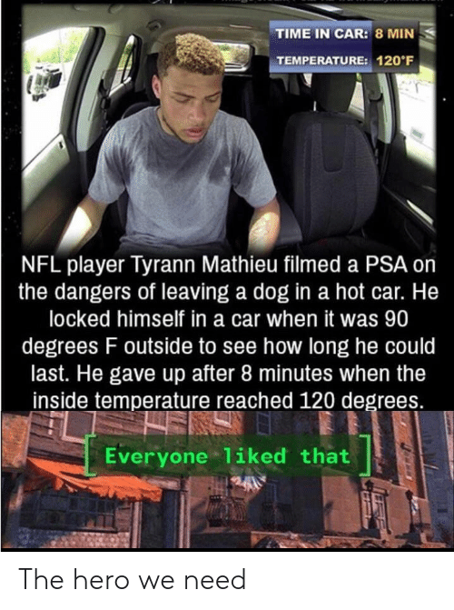 Nfl, Time, and How: TIME IN CAR: 8 MIN  TEMPERATURE: 120 F  NFL player Tyrann Mathieu filmed a PSA on  the dangers of leaving a dog in a hot car. He  locked himself in a car when it was 90  degrees F outside to see how long he could  last. He gave up after 8 minutes when the  inside temperature reached 120 degrees.  Everyone 1iked that The hero we need