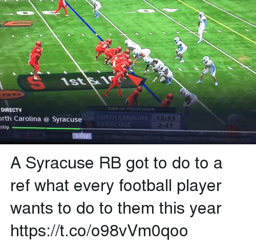 Football, Sports, and DirecTV: TIME OF POSSESSION  DIRECTV  rth Carolina @ Syracuse  00p  NORTH CAROLINA  US  12:55  :47 A Syracuse RB got to do to a ref what every football player wants to do to them this year https://t.co/o98vVm0qoo