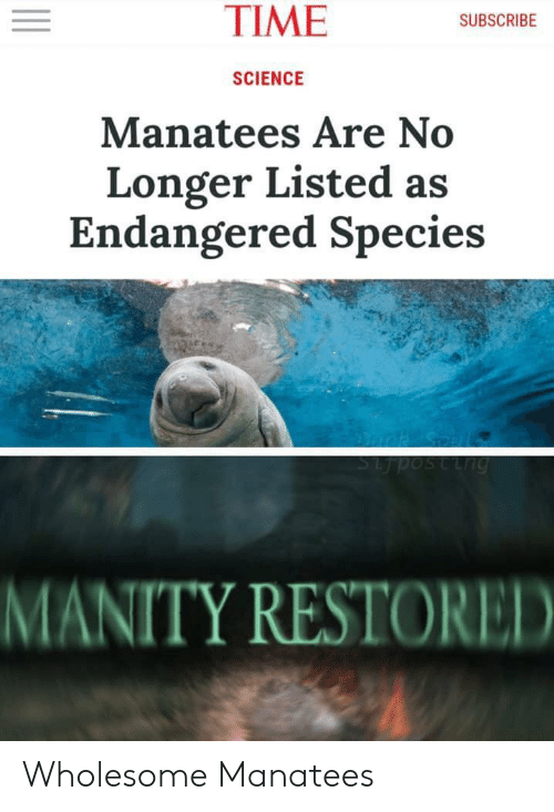 Dank, Science, and Time: TIME  SUBSCRIBE  SCIENCE  Manatees Are No  Longer Listed as  Endangered Species  Dank Coal  Sijposting  MANITY RESTORED Wholesome Manatees