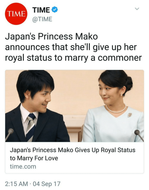 TIME TIME Japan's Princess Mako Announces That Shell Give Up