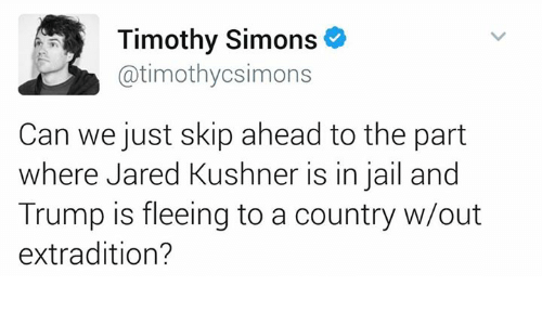 Jail, Memes, and Jared: Timothy Simons  Gatimothycsimons  Can we just skip ahead to the part  where Jared Kushner is in jail and  Trump is fleeing to a country w/out  extradition?