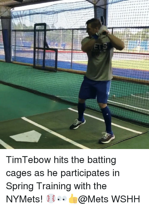 Mets: TimTebow hits the batting cages as he participates in Spring Training with the NYMets! ⚾️👀👍@Mets WSHH