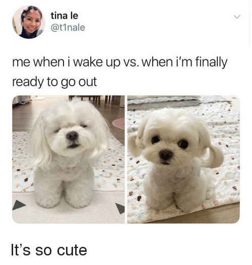 Cute, Memes, and 🤖: tina le  t1nale  me when i wake up vs. when i'm finally  ready to go out It's so cute