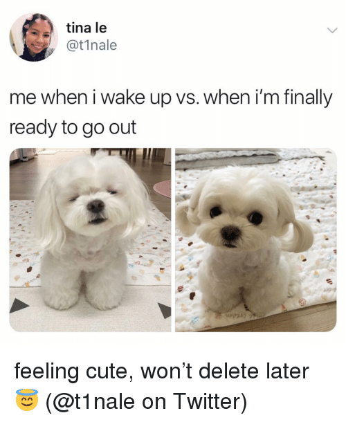 Cute, Memes, and Twitter: tina le  @t1nale  me when i wake up vs. when i'm finally  ready to go out feeling cute, won't delete later 😇 (@t1nale on Twitter)