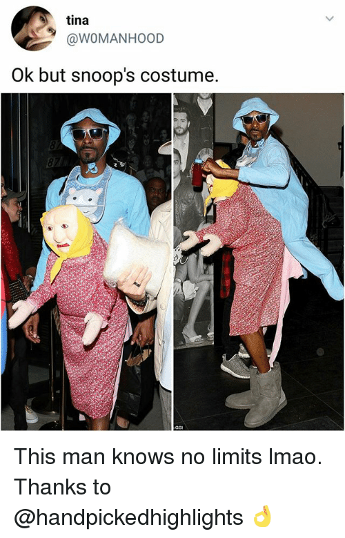 Lmao, Memes, and 🤖: tina  @WOMANHOOD  Ok but snoop's costume. This man knows no limits lmao. Thanks to @handpickedhighlights 👌