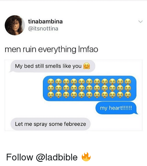 Memes, 🤖, and You: tinabambina  @itsnottina  men ruin everything Imfao  My bed still smells like you  Let me spray some febreeze Follow @ladbible 🔥