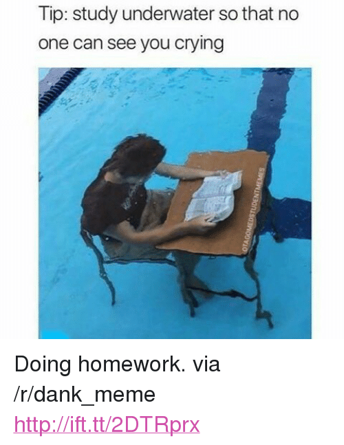 "doing homework: Tip: study underwater so that no  one can see you cryling <p>Doing homework. via /r/dank_meme <a href=""http://ift.tt/2DTRprx"">http://ift.tt/2DTRprx</a></p>"