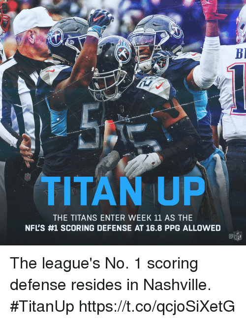 nashville: TITAN UP  THE TITANS ENTER WEEK 11 AS THE  NFL'S #1 SCORING DEFENSE AT 16.8 PPG ALLOWED The league's No. 1 scoring defense resides in Nashville. #TitanUp https://t.co/qcjoSiXetG