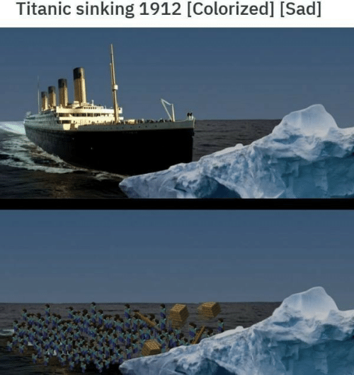 Colorized: Titanic sinking 1912 [Colorized] [Sad]