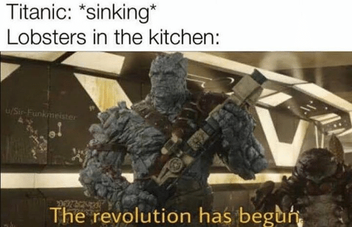 sinking: Titanic: *sinking*  Lobsters in the kitchen:  u/Sir-Funkmeister  The revolution has beguh