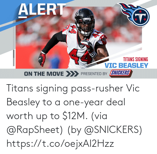 deal: Titans signing pass-rusher Vic Beasley to a one-year deal worth up to $12M. (via @RapSheet)  (by @SNICKERS) https://t.co/oejxAI2Hzz
