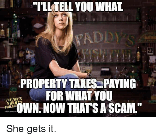 "Memes, Taxes, and 🤖: ""TLLTELL YOU WHAT  YADD  PROPERTY TAXES:PAYING  FOR WHAT YOU  OW THATS A SCAM,  _PHILADI She gets it."