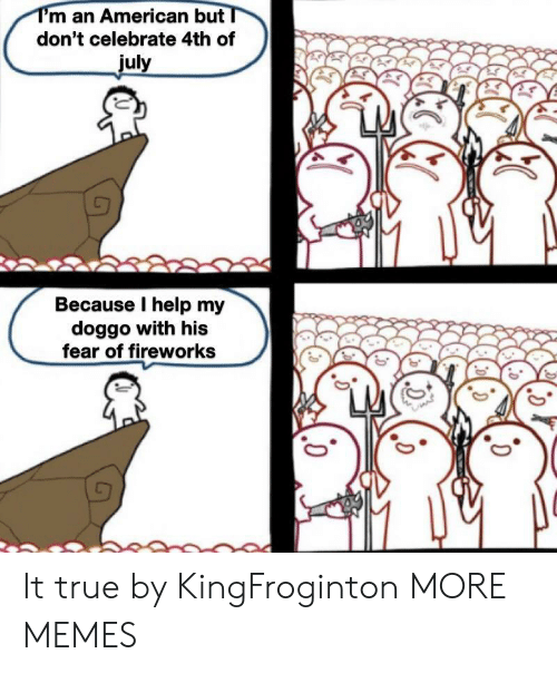 I Help: T'm an American but  don't celebrate 4th of  july  Because I help my  doggo with his  fear of fireworks It true by KingFroginton MORE MEMES