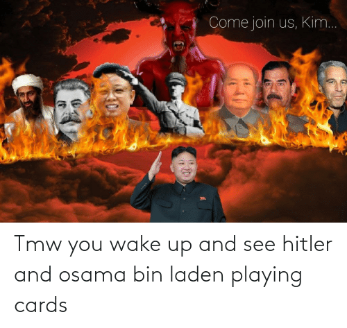 cards: Tmw you wake up and see hitler and osama bin laden playing cards