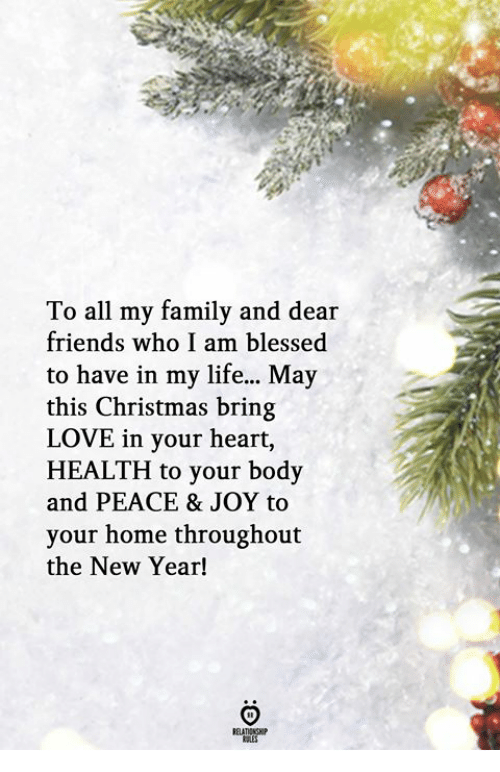 Blessed, Christmas, and Family: To all my family and dear  friends who I am blessed  to have in my life... May  this Christmas bring  LOVE in your heart,  HEALTH to your body  and PEACE & JOY to  your home throughout  the New Year!  RELATIONSH  KALES