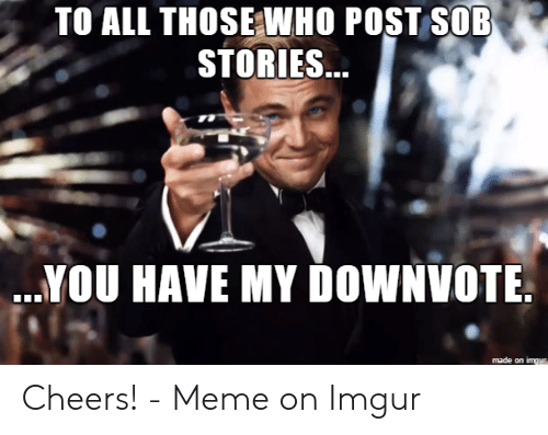 Cheers Meme: TO ALL THOSE WHO POST SOB  SfORIES...  ...YOU HAVE MY DOWNVOTE  made on imgus