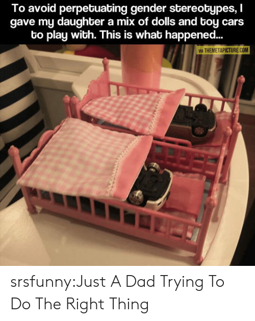 Cars, Dad, and Tumblr: To avoid perpetuating gender stereotypes, I  gave my daughter a mix of dolls and toy cars  to play with. This is what happened...  A THEMETAPICTURE COM srsfunny:Just A Dad Trying To Do The Right Thing
