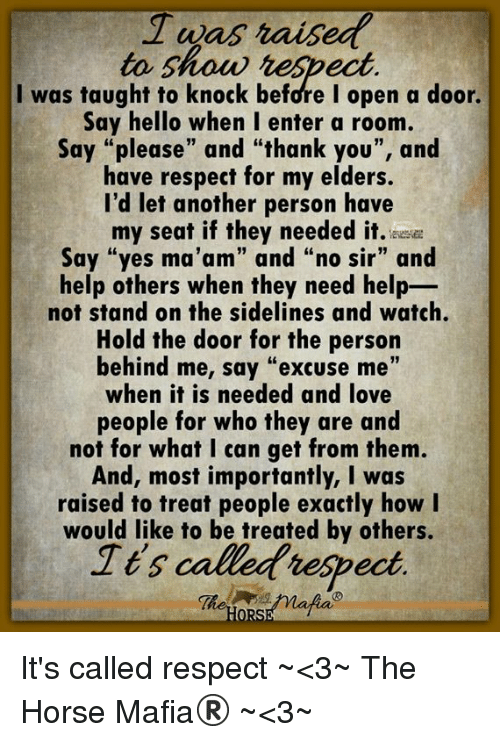 "sidelines: to show heSpect  I was taught to knock before I open a door.  Say hello when I enter a room,  Say ""please"" and ""thank you"", and  have respect for my elders.  I'd let another person have  my seat if they needed it. ee  Say ""yes ma'am"" and ""no sir"" and  help others when they need help-  not stand on the sidelines and watch.  Hold the door for the person  behind me, say ""excuse me""  when it is needed and love  people for who they are and  not for what I can get from thenm  And, most importantly, I was  raised to treat people exactly how I  would like to be treated by others.  Ies callet respect  Tt'5 It's called respect ~<3~ The Horse Mafia® ~<3~"