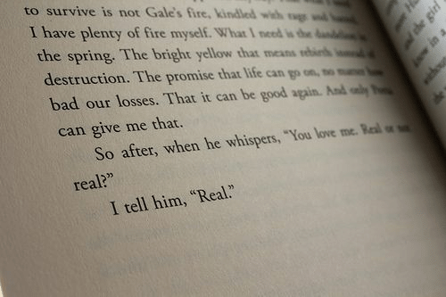 """Give Me That: to survive is not Gale's fire,kindled with g w  I have plenty of fire myself. What 1 need is he  the spring. The bright yellow that means b  destruction. The promise that life can go on  bad our losses. That it can be good again. And y  can give me that.  So after, when he whispers, """"You love me. Ral  real?""""  .""""  I tell him, """"Real"""