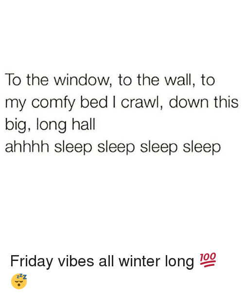 Friday, Memes, and Winter: To the window, to the wall, to  my comfy bed I crawl, down this  big, long hall  ahhhh sleep sleep sleep sleep Friday vibes all winter long 💯😴