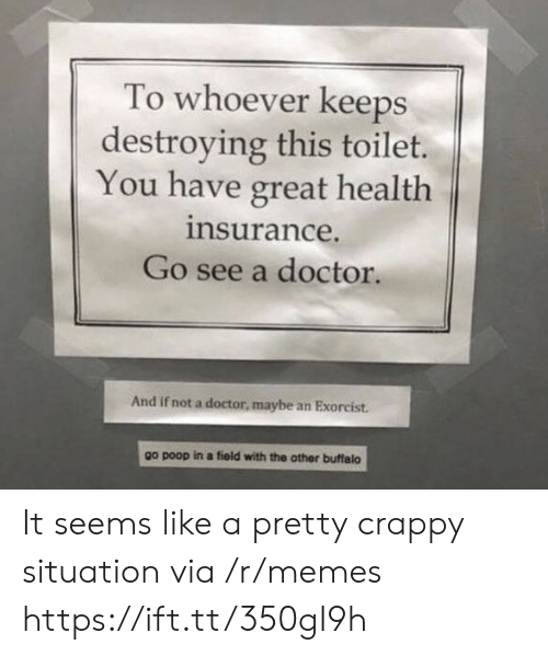 Doctor, Memes, and Poop: To whoever keeps  destroying this toilet.  You have great health  insurance.  Go see a doctor.  And if not a doctor, maybe an Exorcist.  other buffalo  go poop in a field with the It seems like a pretty crappy situation via /r/memes https://ift.tt/350gI9h