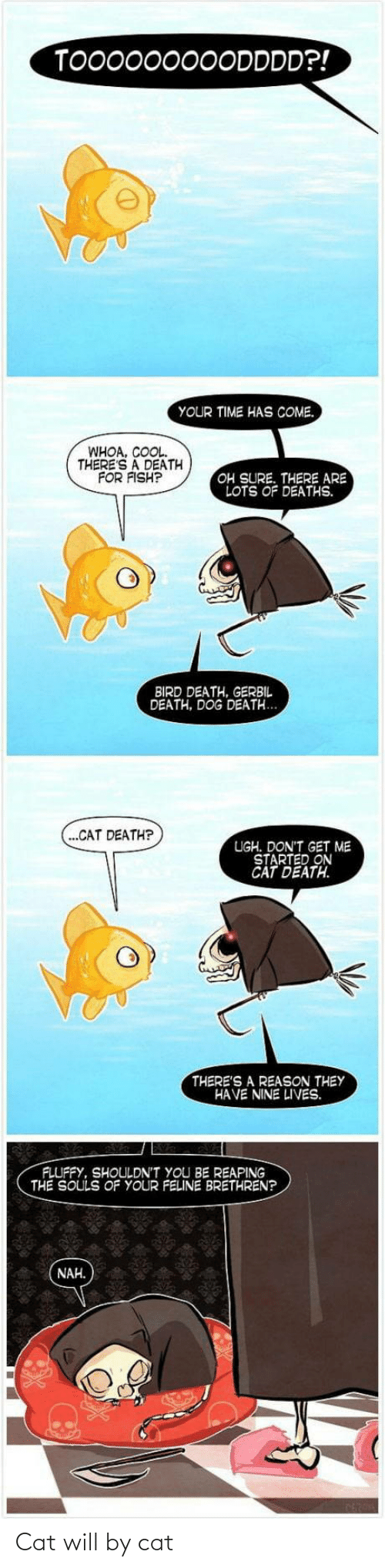 lots: TO00000000DDDD?!  YOUR TIME HAS COME.  WHOA, COOL.  THERE'S A DEATH  FOR FISH?  OH SURE. THERE ARE  LOTS OF DEATHS.  BIRD DEATH, GERBIL  DEATH, DOG DEATH...  (...CAT DEATH?  UGH. DON'T GET ME  STARTED ON  CAT DEATH.  THERE'S A REASON THEY  HAVE NINE LIVES.  FLUFFY, SHOULDN'T YOU BE REAPING  THE SOULS OF YOUR FELINE BRETHREN?  NAH. Cat will by cat